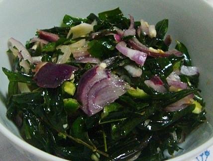 salade tempéré de feuilles de pois antillais